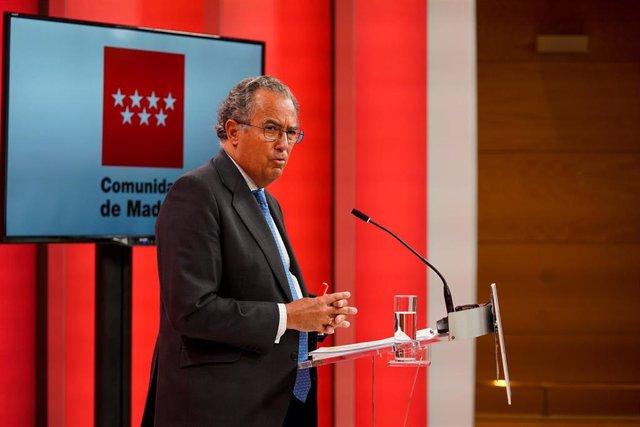 El consejero de Educación, Universidades, Ciencia y portavoz de la Comunidad de Madrid,  Enrique Ossorio.