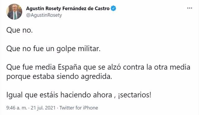 Captura del comentario del diputado de Vox Agustín Rosety en Twitter