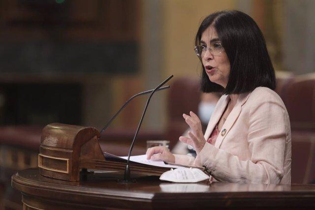 La ministra de Sanitat, Carolina Darias, al Congrés dels Diputats