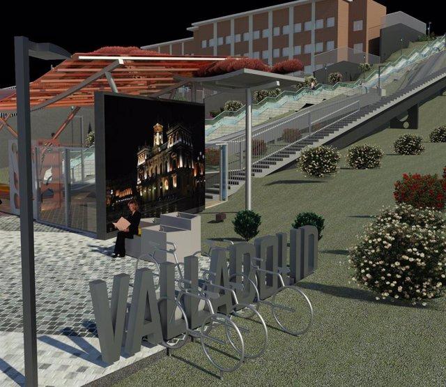 Simulación de los elevadores del barrio vallisoletano de Parquesol.