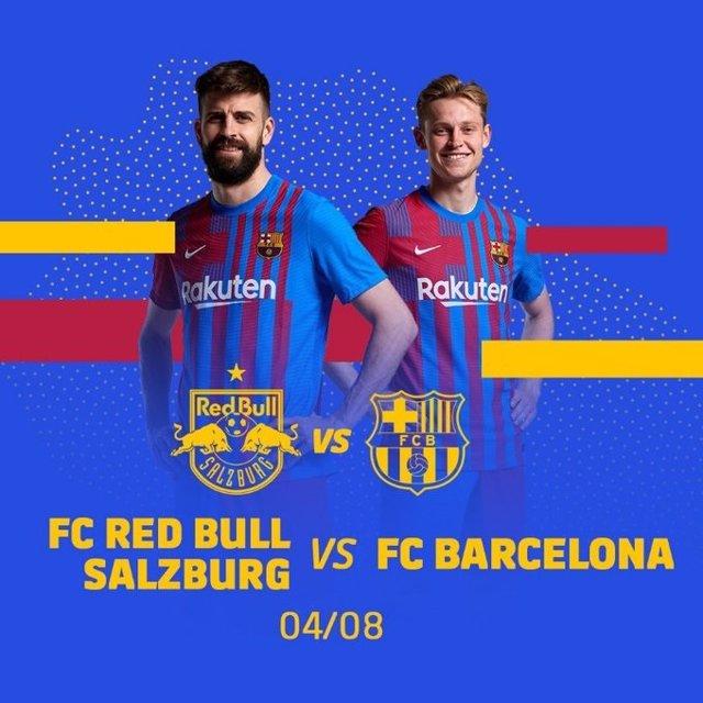 Cartel promocional del partido amistoso de pretemporad que jugará el FC Barcelona contra el Red Bull Salzburg en Salzburgo (Austria) el 4 de agosto de 2021