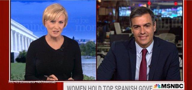 El presidente del Gobierno, Pedro Sánchez, en una entrevista en la cadena estadounidense MSNBC