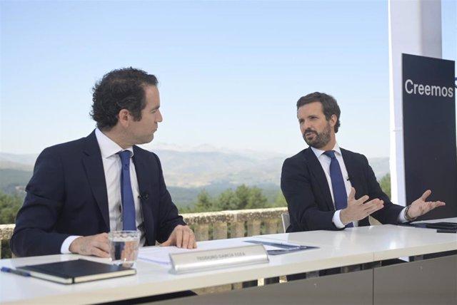 El líder del PP, Pablo Casado, preside la reunión de la Junta Directiva Nacional del PP en el Parador de Gredos. Avila, 21 de julio de 2021.