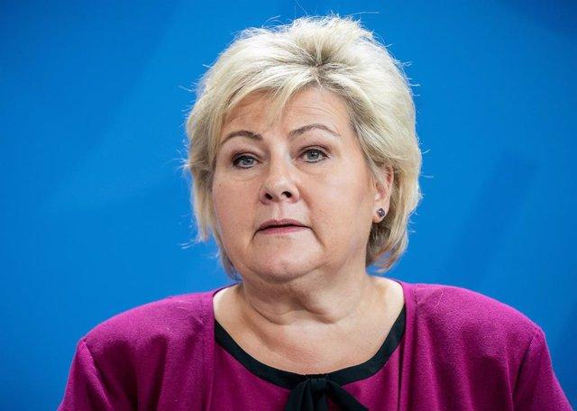 Archivo - La primera ministra noruega, Erna Solberg.