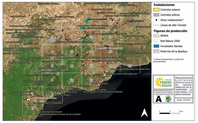 Mapa de Verdes Equo de las megaplantas renovables de Málaga