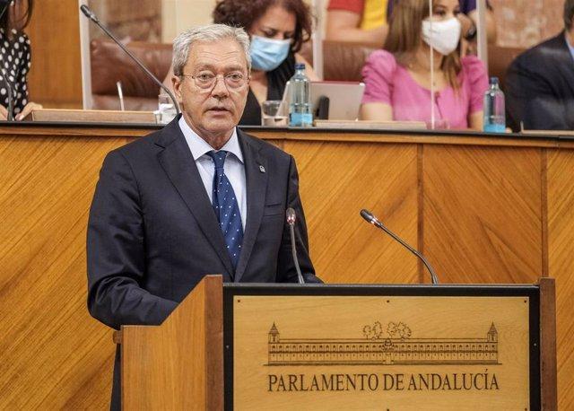 El consejero de Transformación Económica, Industria, Conocimiento y Universidades, Rogelio Velasco, comparece en el Pleno del Parlamento andaluz.