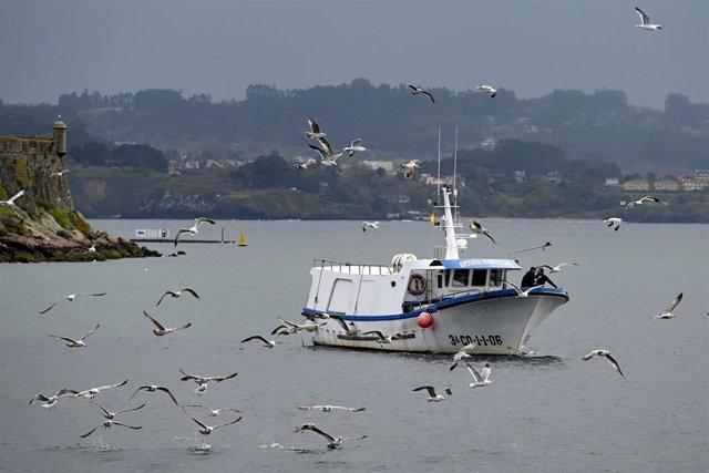 Archivo - Un barco de flota artesanal, tras la convocatoria de paro por parte de la Federación Galega de Cofradías de Pescadores en la dársena de A Marina en A Coruña, Galicia (España), a 26 de marzo de 2021.