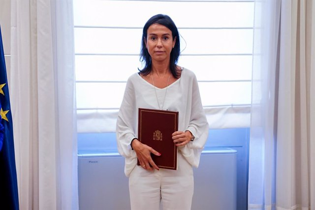 La presidenta de Adif, Isabel Pardo de Vera, durante la firma del convenio para la integración ferroviaria en Zorrotza (Bilbao), en la sede del Ministerio de Transportes, a 14 de julio de 2021, en Madrid (España)