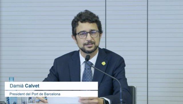 El president del Port de Barcelona, Damià Calvet, en la presentació dels 'Resultats de tràfic del primer semestre del 2021'