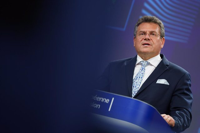 HANDOUT - 30 June 2021, Belgium, Brussels: European Commissioner for Inter-institutional Relations and Foresight Maros Sefcovic speaks during a press conference on Brexit at the EU headquarters in Brussels. Photo: Christophe Licoppe/European Commission/dp