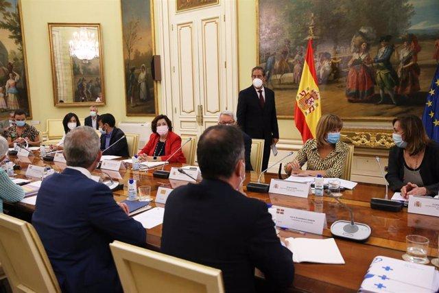 La ministra de Educación y Formación Profesional, Pilar Alegría (2d), en la Conferencia Sectorial de Educación de este miércoles 21 de julio en la sede ministerial, en Madrid