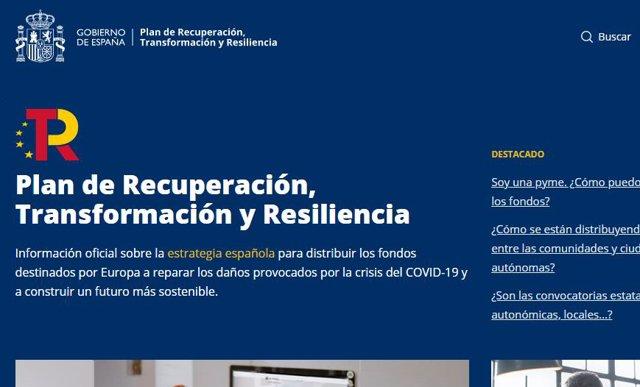 Captura de la nueva web del Plan de Recuperación, Transformación y Resiliencia