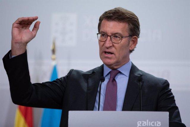 O presidente da Xunta, Alberto Núñez Feijóo, na rolda de prensa do mércores despois do comité clínico do 20 de xullo.