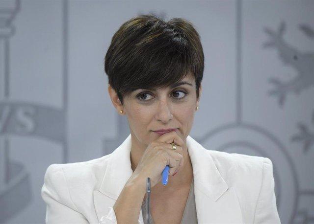 La ministra Portavoz y ministra de Política Territorial, Isabel Rodríguez, comparece tras la celebración del Consejo de Ministros, a 20 de julio de 2021, en Madrid (España). Durante la comparecencia han informado de la aprobación de la nueva Ley de Memori