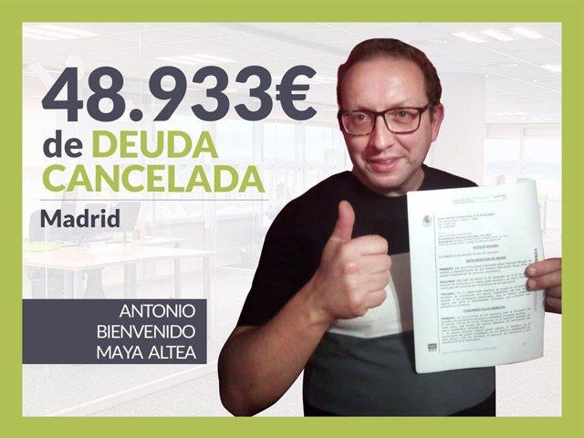 Antonio Bienvenido Maya, exonerado con Repara Tu Deuda