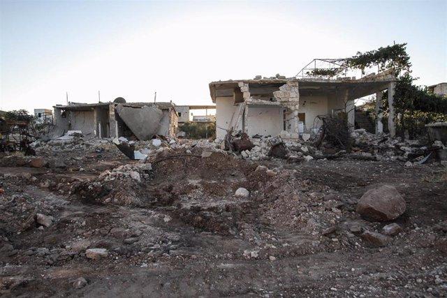 Archivo - Daños materiales causados por un ataque del Ejército de Siria durante su ofensiva en la provincia de Idlib
