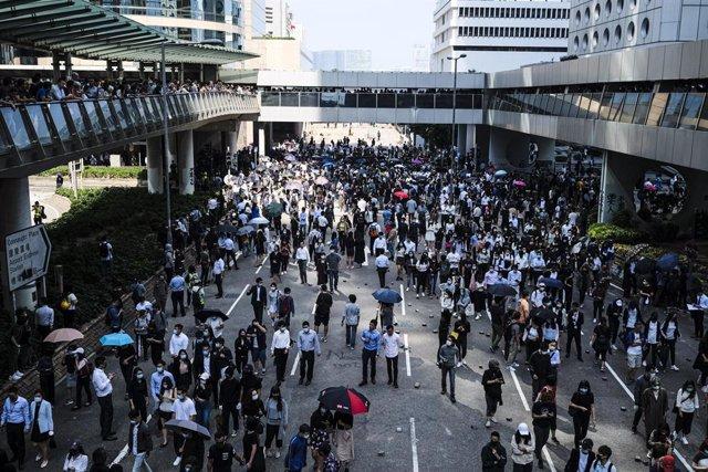 Archivo - Imagen de archivo de las protestas de Hong Kong en 2019.