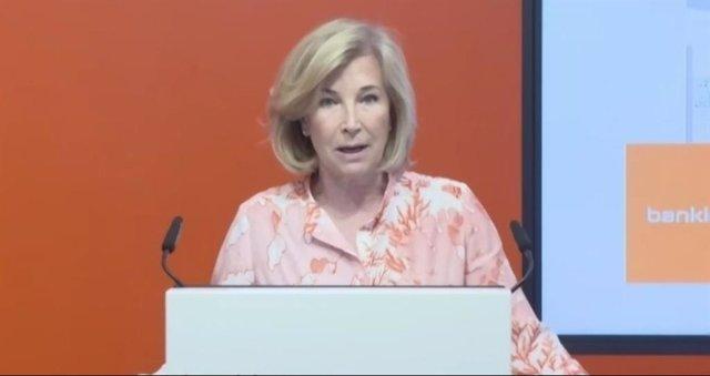 La consejera delegada de Bankinter, María Dolores Dancausa, en la presentación de resultados del primer semestre de 2021