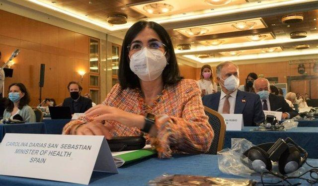 La ministra de Sanidad, Carolina Darias, en su intervención durante la Reunión de Alto Nivel (RAN) de OMS Europa, que se celebra este jueves 22 de julio en Atenas (Grecia).