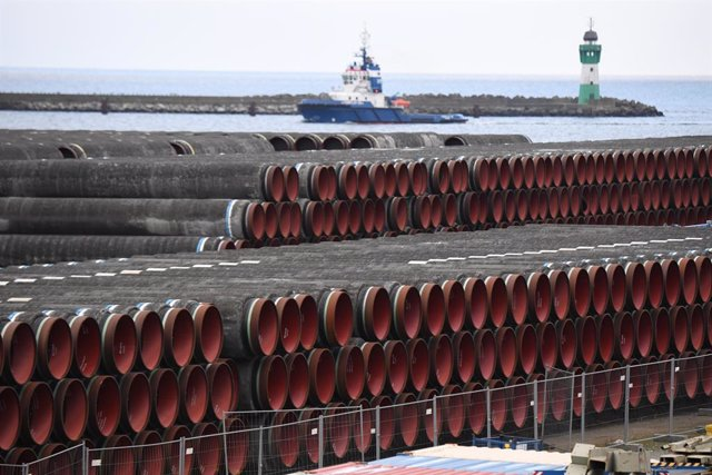 Archivo - Material para la construcción del gasoducto Nord Stream 2 entre Rusia y Alemania