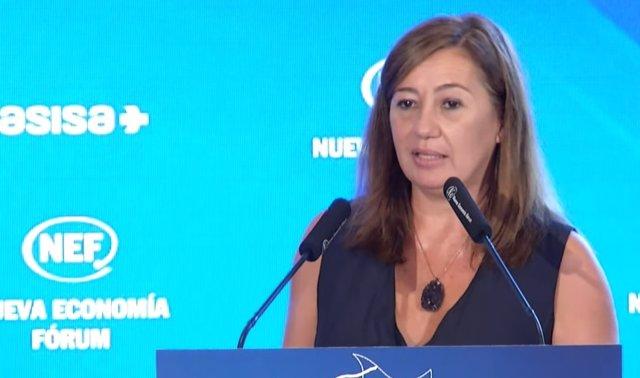 La presidenta del Govern, Francina Armengol, durante su intervención de hoy.