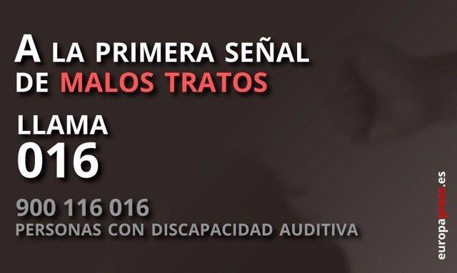 Archivo - Teléfono 016 para las víctimas de violencia de género