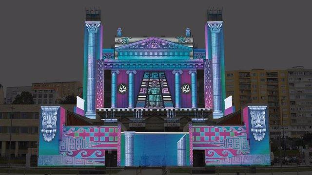Imagen del vídeo mapping que se proyectará en el Palacio de Festivales para conmemorar el 30 aniversario de su inauguración