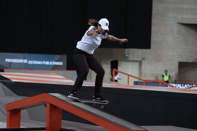 Archivo - Andrea Benítez durante una competición