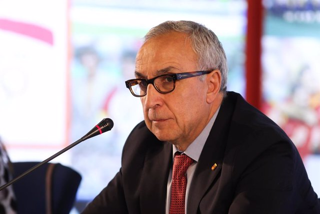 Alejandro Blanco, President of Comite Olimpico Espanol during press conference after Board of Olympic Federations where the Olympic Delegation for Tokio 2020 has been aproved at Comité Olímpico Espanol on June 30, 2021 in Madrid, Spain.
