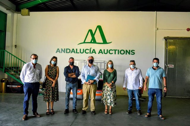 La delegada territorial de Agricultura, Ganadería y Pesca de la Junta de Andalucía en Cádiz, Ana Bertón, durante su visita a la empresa 'Andalucía Auctions'.