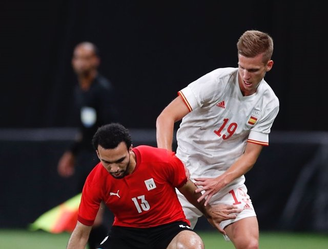 El jugador español Dani Olmo en el partido contra Egipto en los Juegos Olímpicos de Tokyo 2020