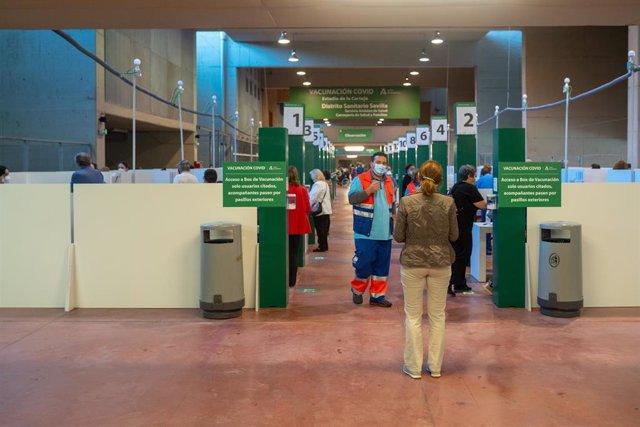 Archivo - Imagen de archivo de personas que van a recibir la vacunar contra el Covid-19 en Sevilla