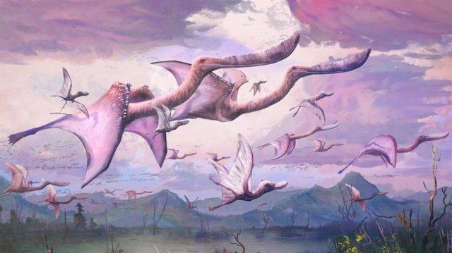 Una bandada de pterosaurios parecidos a flamencos adultos y crías, Pterodaustro guinazui, emprende el vuelo en el Cretácico Inferior de Argentina