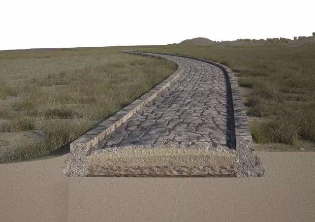 Aquí, una reconstrucción de la calzada del canal Treporti en rimas romanas. La laguna de Venecia habría estado a la izquierda de la carretera y el mar Adriático a la derecha.