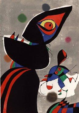 Uno de los grabados de la serie 'Gaudí' de Joan Miró