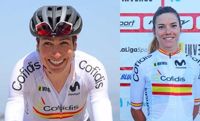 Las ciclistas españolas Mavi García y Ane Santesteban, participantes en los Juegos Olímpicos de Tokyo 2020 en la prueba femenina en línea