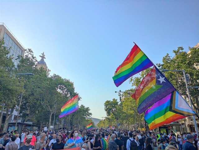 Unas 4.000 personas han participado este jueves en la manifestación unitaria contra la LTGBIfobia en Barcelona