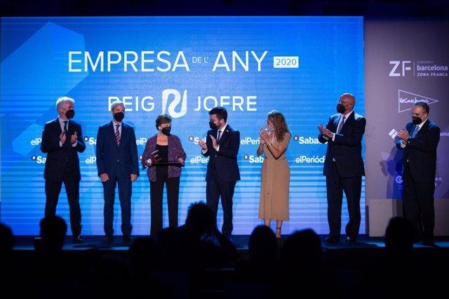 El president de la Generalitat, Pere Aragonès, i la ministra de Transports, Raquel Sánchez, lliuren el premi Empresa de l'Any d''El Periódico' a Reig Jofre