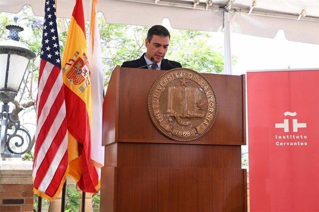 El presidente del Gobierno, Pedro Sánchez, en la UCLA