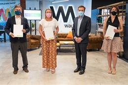 De izquierda a derecha: el director de Pymes en Telefónica España, Javier Vizcaíno, la directora general de la EOI, Nieves Olivera, el consejero delegado de Enisa, José Bayón e Irene Gómez Luque, directora de Innovación Abierta en Telefónica.