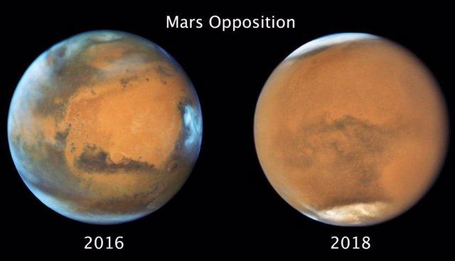 Imágenes de Marte en condiciones claras (izquierda) y durante la Tormenta de polvo global de 2018 (derecha).