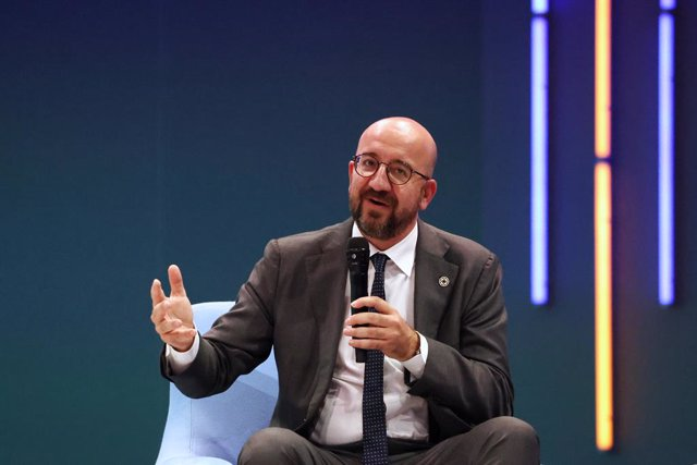 HANDOUT - 30 June 2021, France, Paris: EU Council President Charles Michel attends the opening session of the Generation Equality Forum, a global gathering for gender equality convened by UN Women and co-hosted by the governments of Mexico and France in p