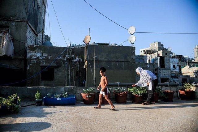 Refugiados palestinos en el campamento de Shatila, en Líbano