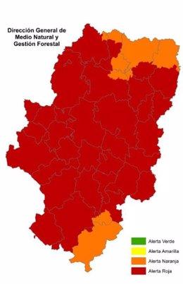 Alerta roja de peligro de incendios forestales en casi todo Aragón.