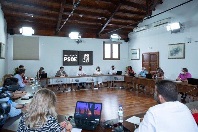 El candidato socialista a la Presidencia de la Junta de Andalucía, Juan Espadas (c), durante una reunión con su nueva 'ejecutiva' en su proclamación como secretario general del PSOE de Andalucía por la Comisión de Ética de la federación socialista. En la