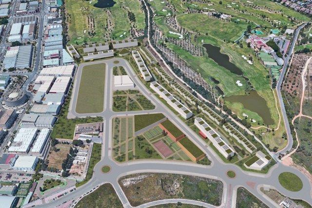 Vista aérea de cómo quedará el PEZ tras la edificación en Tomares del ecobarrio