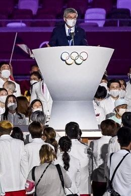 El presidente del COI, Thomas Bach, en la ceremonia de inauguración de Tokyo 2020.