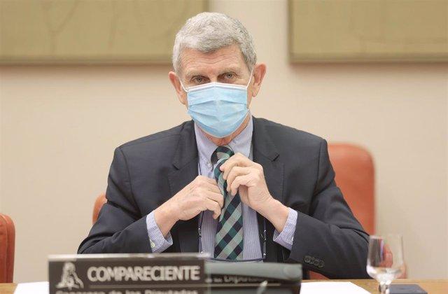El presidente de la Corporación RTVE, José Manuel Pérez Tornero, interviene en una Comisión Mixta de Control Parlamentario de la Corporación RTVE y sus Sociedades, a 24 de junio de 2021, en Madrid, (España).