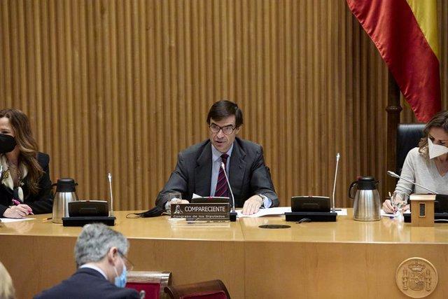 Archivo - El secretario de Estado para la Unión Europea, Juan González-Barba Pera, comparece en la Comisión Mixta para la Unión Europea en el Congreso de los Diputados, a 6 de mayo de 2021, en Madrid (España).