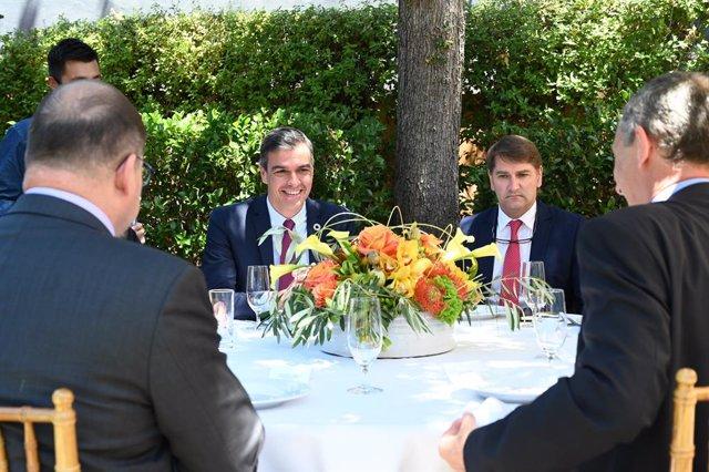 El presidente del Gobierno, Pedro Sánchez, en la sede de HP en Palo Alto, en una reunión con CEOs de compañías tecnológicas